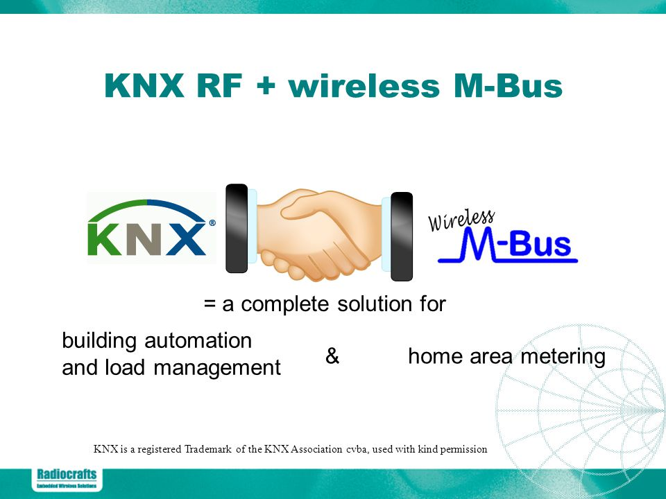 KNX RF + wireless M-Bus home area metering KNX is a registered Trademark of the KNX Association cvba, used with kind permission = a complete solution for building automation and load management &