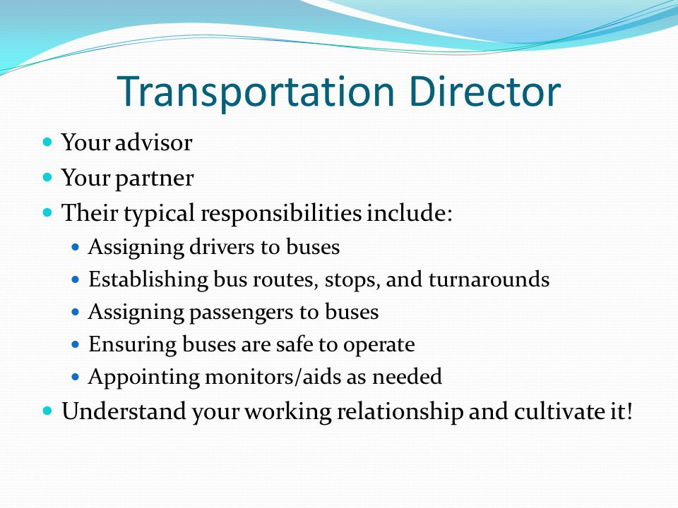 Transportation Director Your advisor Your partner Their typical responsibilities include: Assigning drivers to buses Establishing bus routes, stops, a