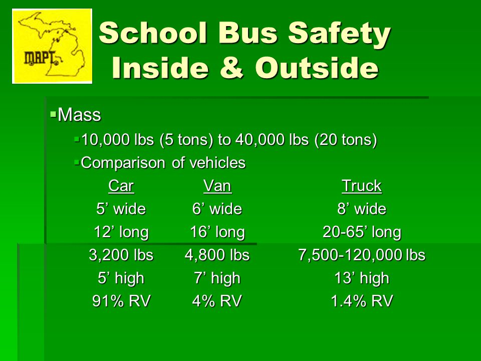 School Bus Safety Inside & Outside Mass Mass 10,000 lbs (5 tons) to 40,000 lbs (20 tons) 10,000 lbs (5 tons) to 40,000 lbs (20 tons) Comparison of veh
