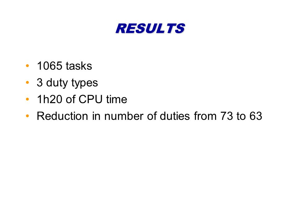 RESULTS 1065 tasks 3 duty types 1h20 of CPU time Reduction in number of duties from 73 to 63