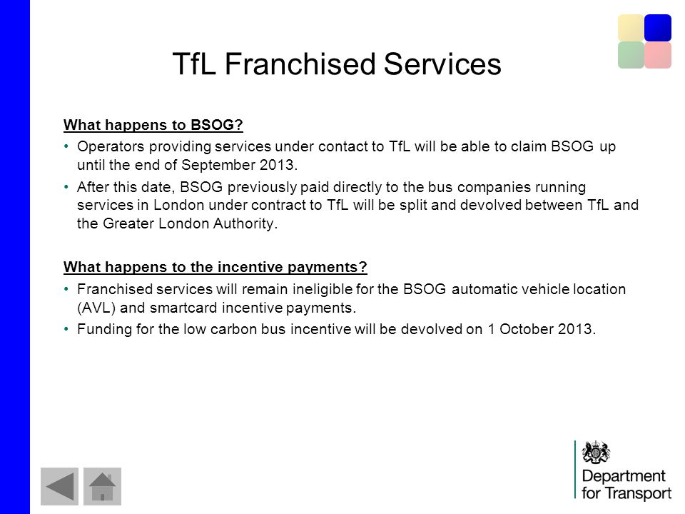 TfL Franchised Services What happens to BSOG.
