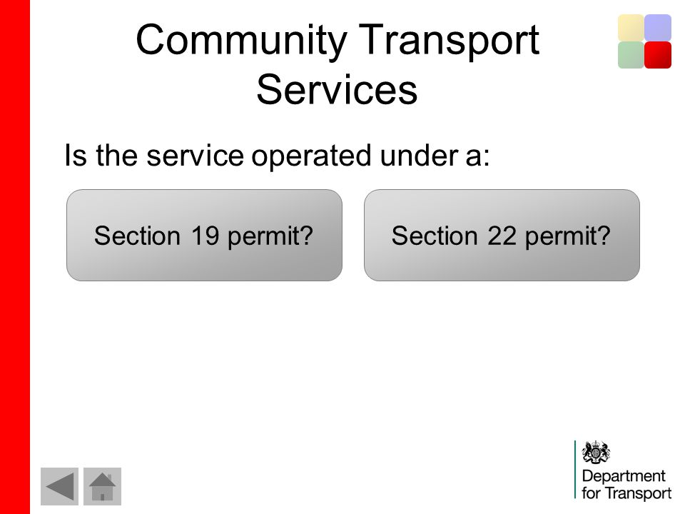 Community Transport Services Is the service operated under a: Section 19 permit Section 22 permit