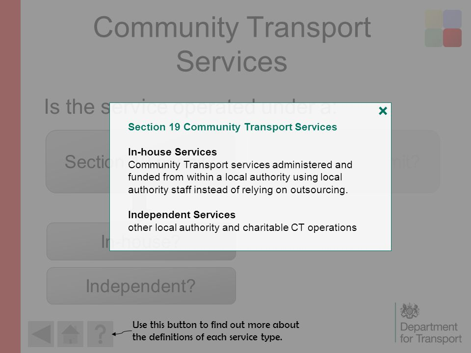 Community Transport Services Is the service operated under a: Section 19 permit Section 22 permit.