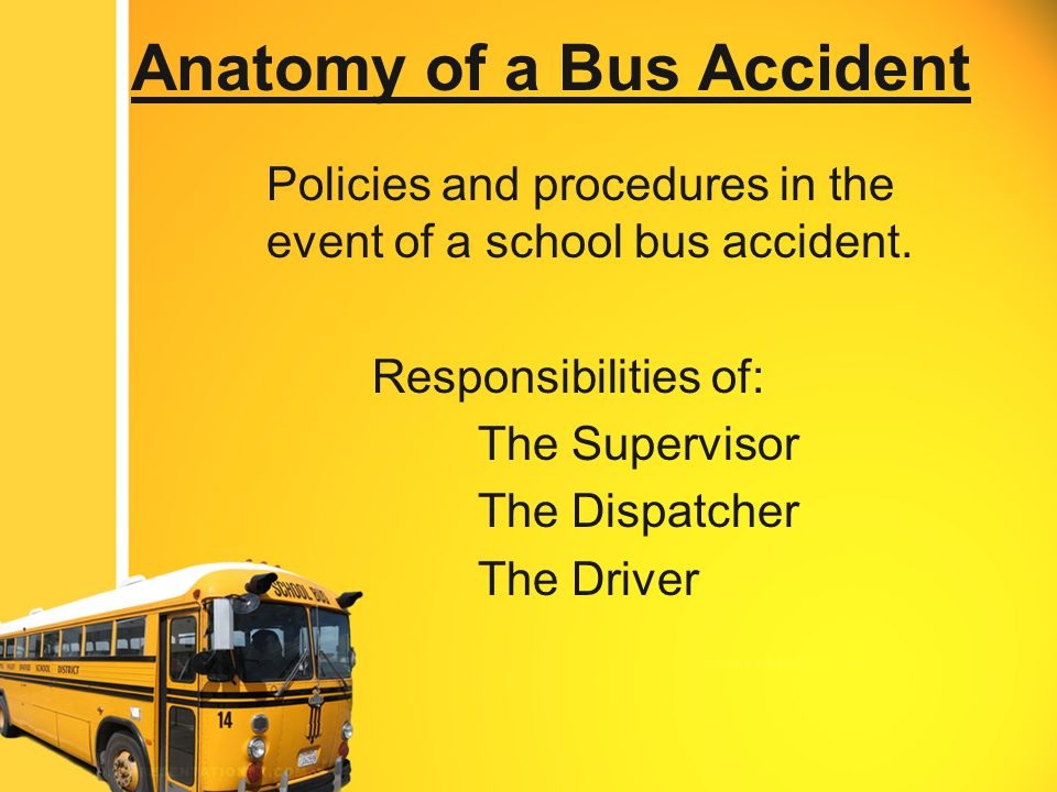 When to Test a Driver Accidents that follow criteria outlined in Federal Motor Carrier Safety Regulations (49 CFR 382.303) Criteria to help determine when to test a driver Human Fatality Citation Issued – YES or NO – Driver must be tested Bodily Injury requiring medical attention and Traffic citation is issued to bus driver Citation Issued = Yes = Driver Tested Citation Issued = NO = Driver Does not need to be tested If either vehicle is towed Towed = yes = Driver Tested Towed = no = Driver does not need to be tested