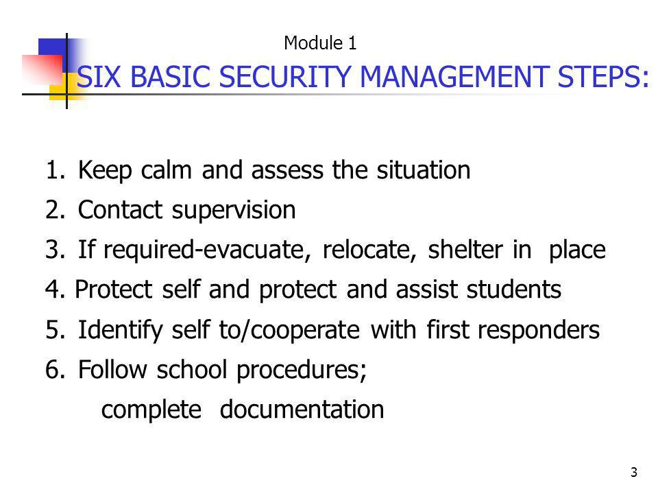 3 1. Keep calm and assess the situation 2. Contact supervision 3. If required-evacuate, relocate, shelter in place 4. Protect self and protect and ass