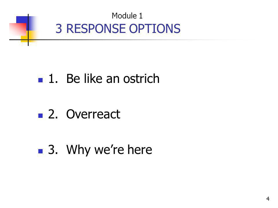4 3 RESPONSE OPTIONS 1. Be like an ostrich 2. Overreact 3. Why were here Module 1