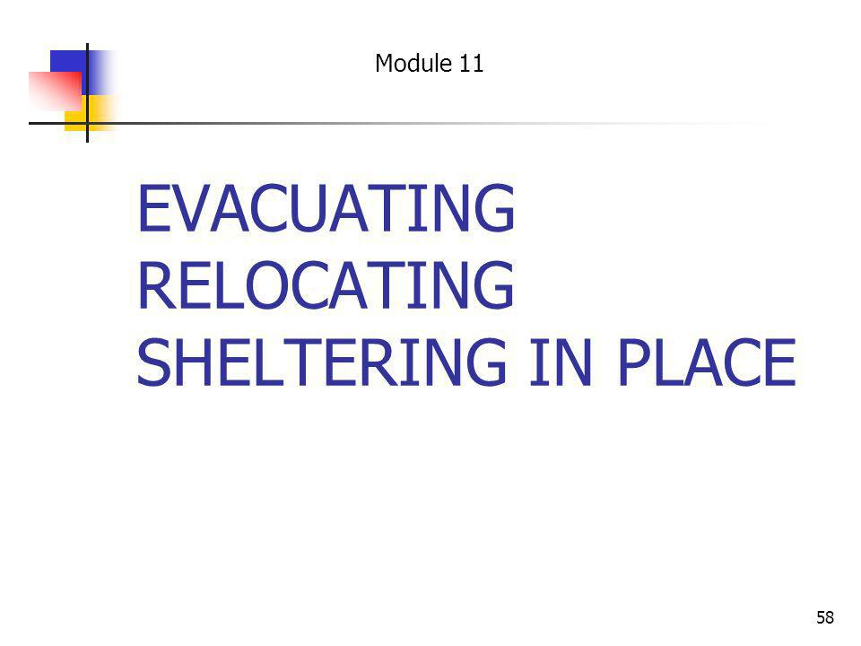 58 EVACUATING RELOCATING SHELTERING IN PLACE Module 11