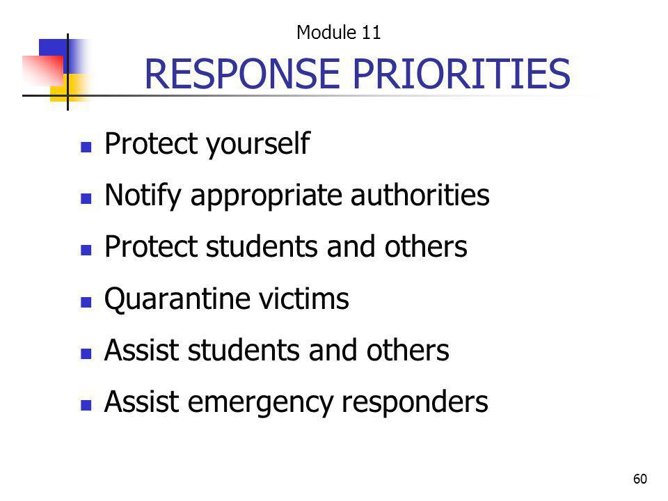 60 RESPONSE PRIORITIES Protect yourself Notify appropriate authorities Protect students and others Quarantine victims Assist students and others Assis