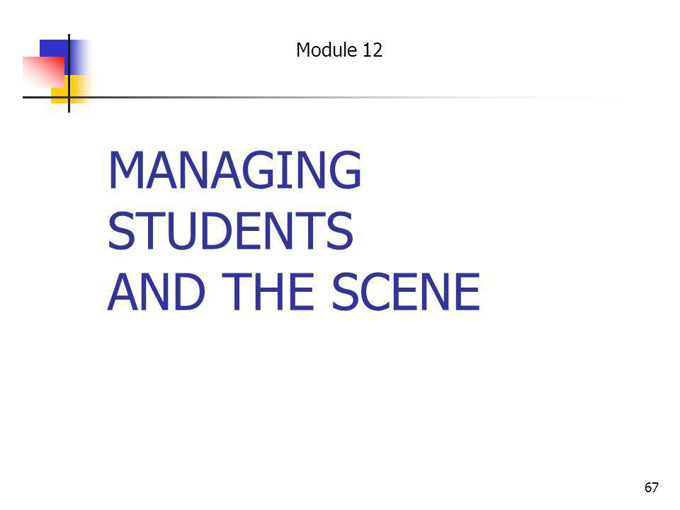 67 MANAGING STUDENTS AND THE SCENE Module 12