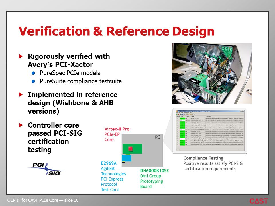 OCP IF for CAST PCIe Core slide 16 Verification & Reference Design Rigorously verified with Averys PCI-Xactor PureSpec PCIe models PureSuite compliance testsuite Implemented in reference design (Wishbone & AHB versions) Controller core passed PCI-SIG certification testing