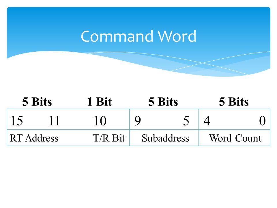 Command Word 5 Bits 1 Bit5 Bits 5 Bits 15 1110 9 5 40 RT AddressT/R Bit Subaddress Word Count
