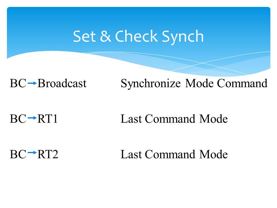 Set & Check Synch BCBroadcastSynchronize Mode Command BCRT1Last Command Mode BCRT2Last Command Mode