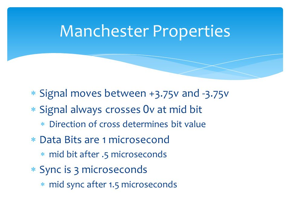 Signal moves between +3.75v and -3.75v Signal always crosses 0 v at mid bit Direction of cross determines bit value Data Bits are 1 microsecond mid bi