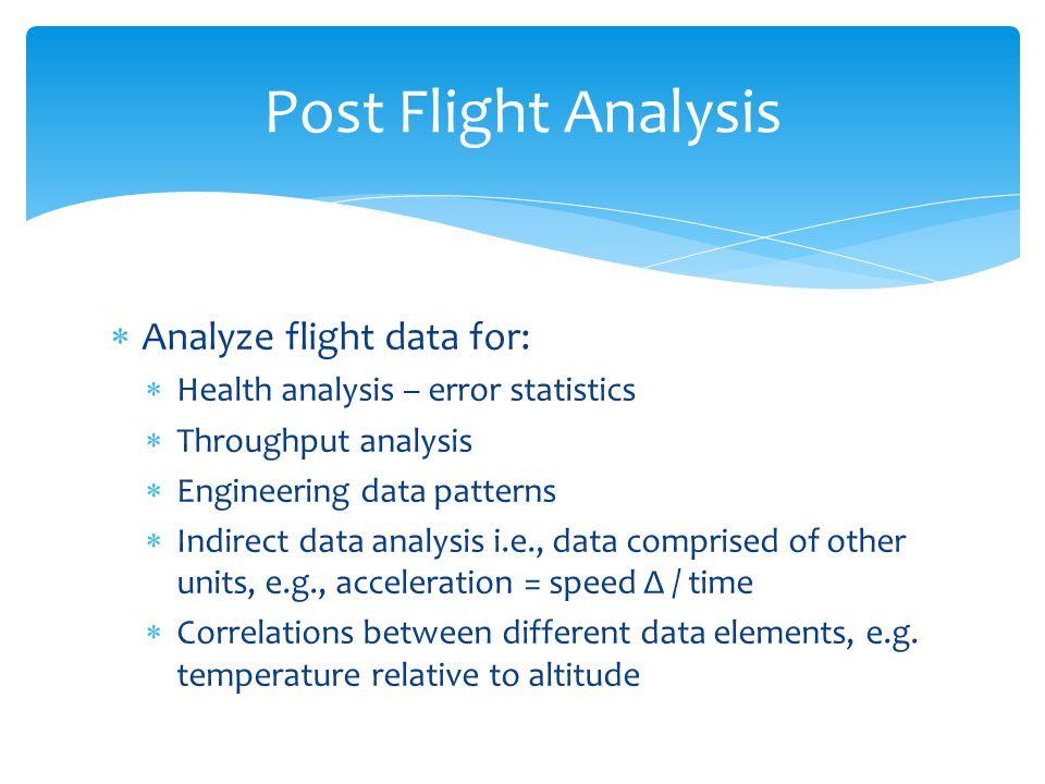 Analyze flight data for: Health analysis – error statistics Throughput analysis Engineering data patterns Indirect data analysis i.e., data comprised