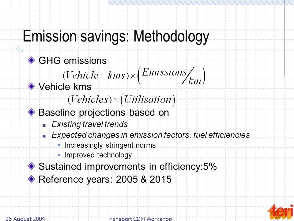 26 August 2004Transport CDM Workshop Emission savings: Methodology GHG emissions Vehicle kms Baseline projections based on Existing travel trends Expe
