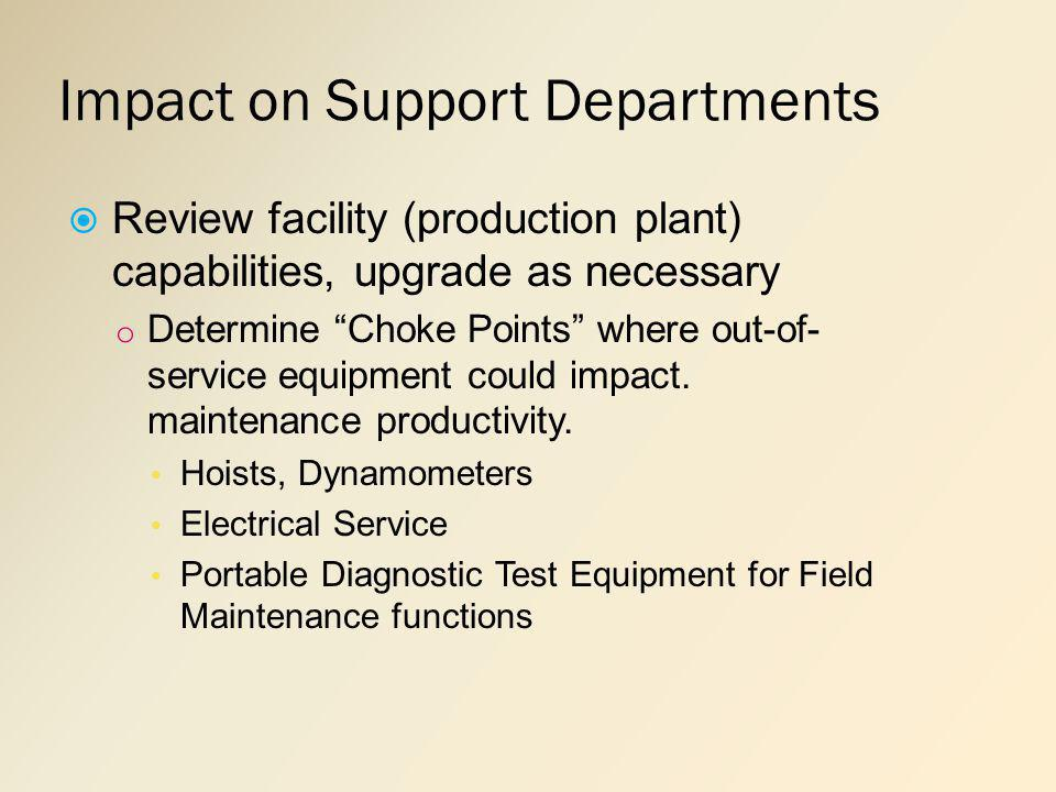 Impact on Support Departments Review facility (production plant) capabilities, upgrade as necessary o Determine Choke Points where out-of- service equipment could impact.