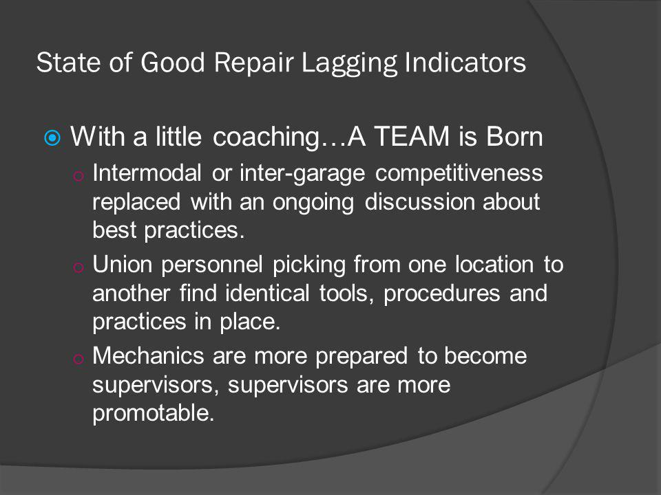 State of Good Repair Lagging Indicators With a little coaching…A TEAM is Born o Intermodal or inter-garage competitiveness replaced with an ongoing di
