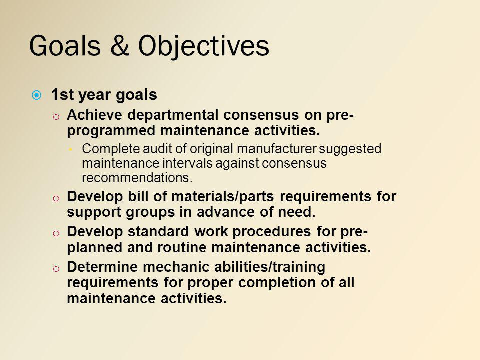 Goals & Objectives 1st year goals o Achieve departmental consensus on pre- programmed maintenance activities.