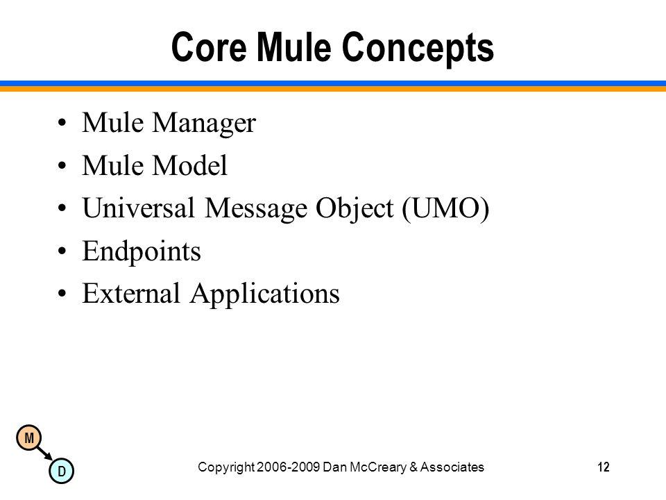 M D Copyright 2006-2009 Dan McCreary & Associates12 Core Mule Concepts Mule Manager Mule Model Universal Message Object (UMO) Endpoints External Applications