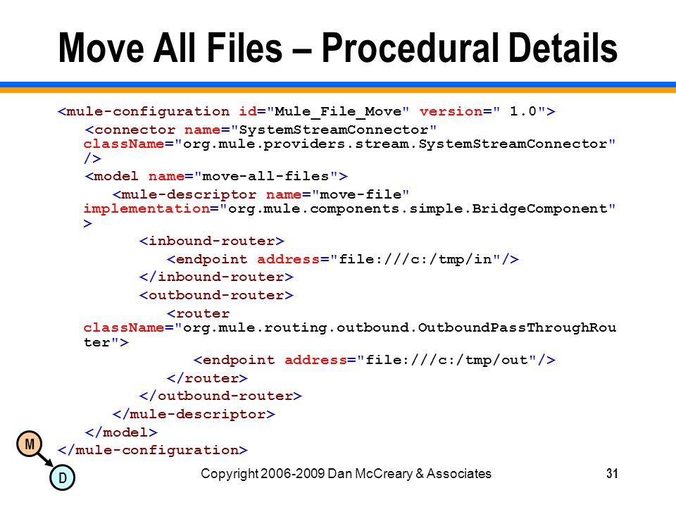 M D Copyright 2006-2009 Dan McCreary & Associates31 Move All Files – Procedural Details