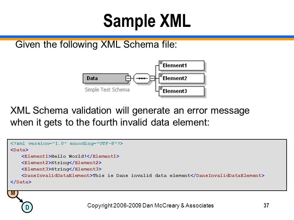 M D Copyright 2006-2009 Dan McCreary & Associates37 Sample XML Hello World.