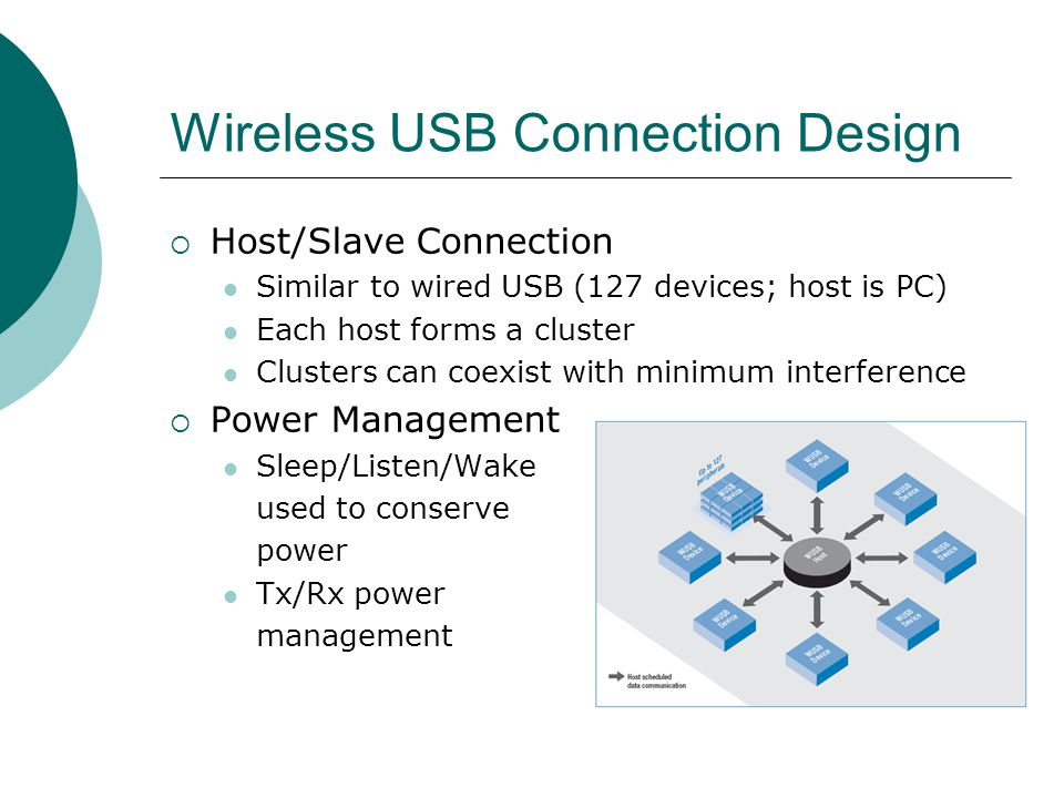 Wireless USB Connection Design Host/Slave Connection Similar to wired USB (127 devices; host is PC) Each host forms a cluster Clusters can coexist with minimum interference Power Management Sleep/Listen/Wake used to conserve power Tx/Rx power management