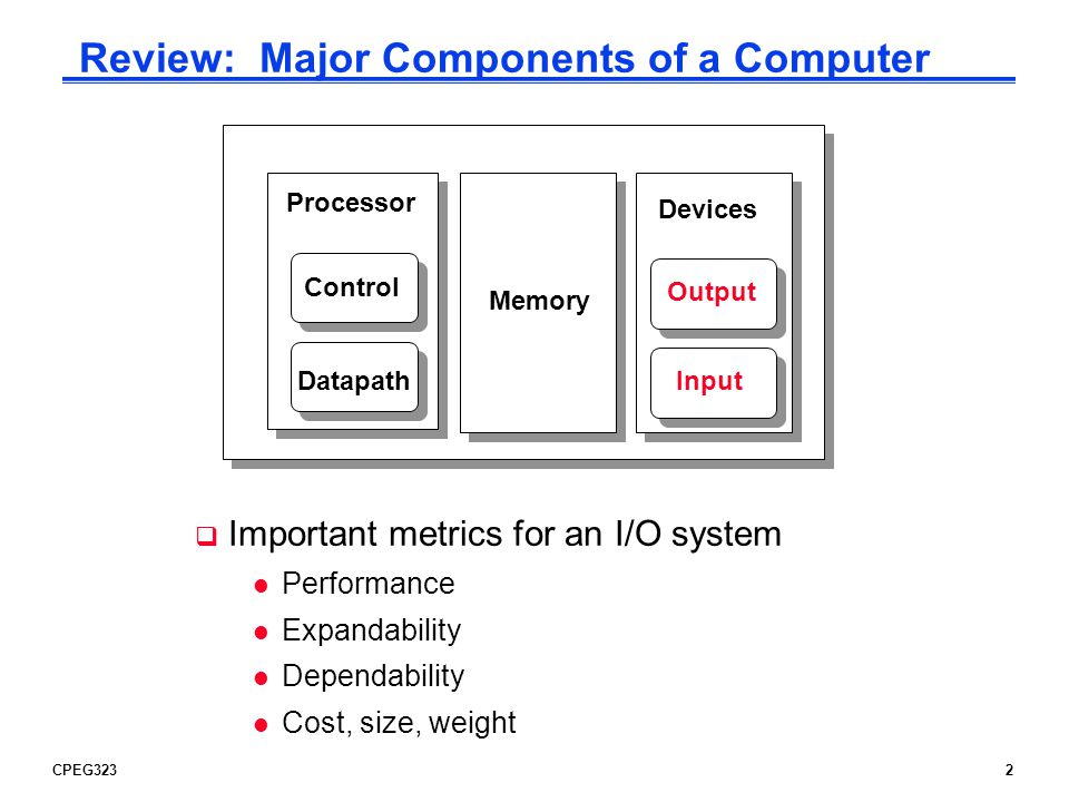 CPEG32323 Communication of I/O Devices and Processor How the processor directs the I/O devices l Special I/O instructions -Must specify both the device and the command l Memory-mapped I/O -Portions of the high-order memory address space are assigned to each I/O device -Read and writes to those memory addresses are interpreted as commands to the I/O devices -Load/stores to the I/O address space can only be done by the OS How the I/O device communicates with the processor l Polling – the processor periodically checks the status of an I/O device to determine its need for service -Processor is totally in control – but does all the work -Can waste a lot of processor time due to speed differences l Interrupt-driven I/O – the I/O device issues an interrupts to the processor to indicate that it needs attention