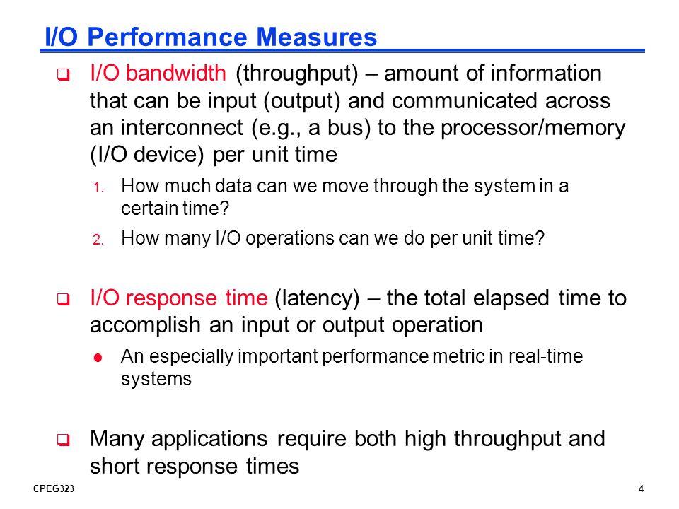 CPEG3235 A Typical I/O System Processor Cache Memory - I/O Bus Main Memory I/O Controller Disk I/O Controller I/O Controller Graphics Network Interrupts Disk