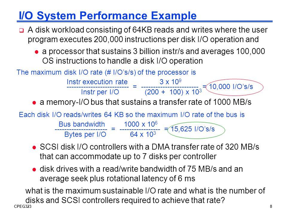 CPEG3239 Disk I/O System Example Processor Cache Memory - I/O Bus Main Memory I/O Controller Disk … I/O Controller Disk … Up to 7 10,000 I/Os/s 15,625 I/Os/s 320 MB/s 75 MB/s