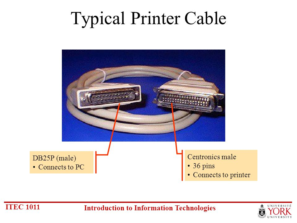 ITEC 1011 Introduction to Information Technologies Typical Printer Cable DB25P (male) Connects to PC Centronics male 36 pins Connects to printer