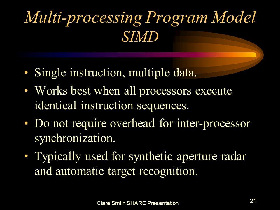 Clare Smtih SHARC Presentation 21 Multi-processing Program Model SIMD Single instruction, multiple data. Works best when all processors execute identi