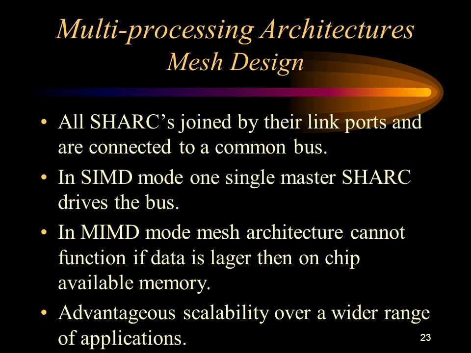 23 Multi-processing Architectures Mesh Design All SHARCs joined by their link ports and are connected to a common bus.