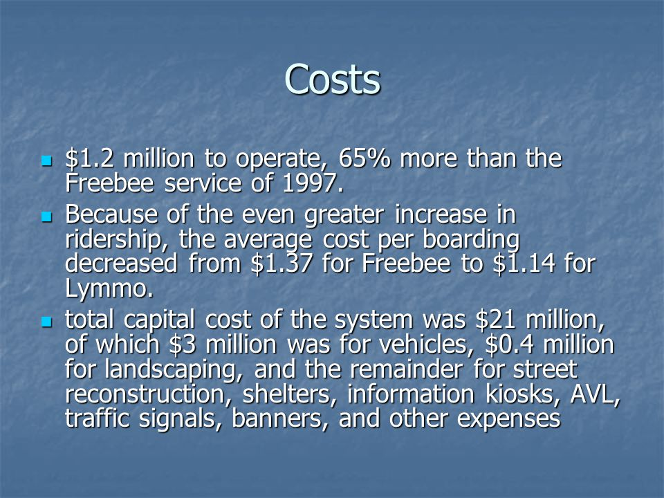 Costs $1.2 million to operate, 65% more than the Freebee service of 1997.