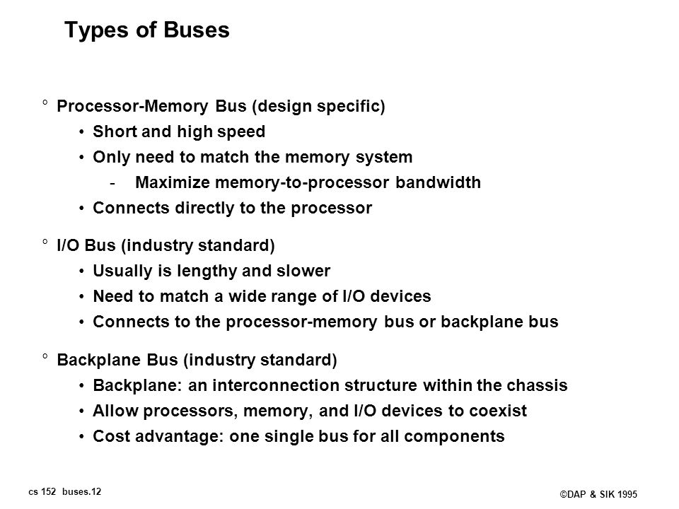 cs 152 buses.12 ©DAP & SIK 1995 Types of Buses °Processor-Memory Bus (design specific) Short and high speed Only need to match the memory system -Maxi