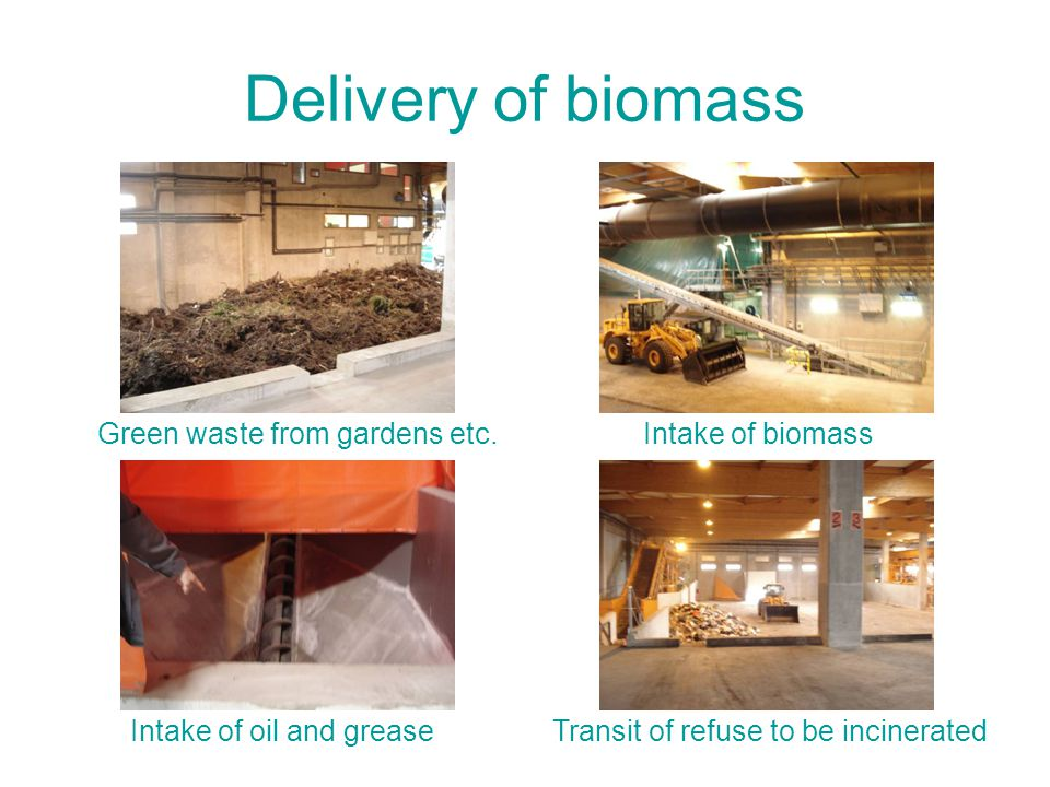 Delivery of biomass Green waste from gardens etc. Intake of oil and greaseTransit of refuse to be incinerated Intake of biomass