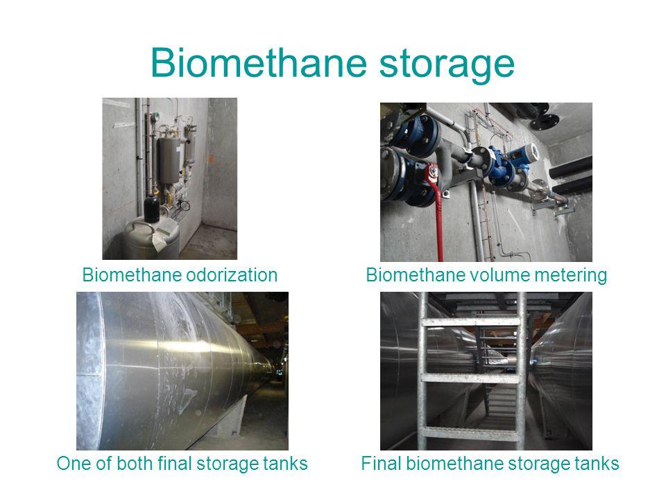 Biomethane storage Biomethane odorization One of both final storage tanks Biomethane volume metering Final biomethane storage tanks