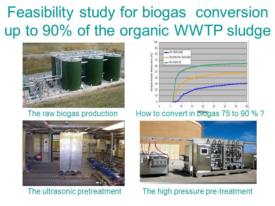 Feasibility study for biogas conversion up to 90% of the organic WWTP sludge The raw biogas production The ultrasonic pretreatment The high pressure pre-treatment How to convert in biogas 75 to 90 %