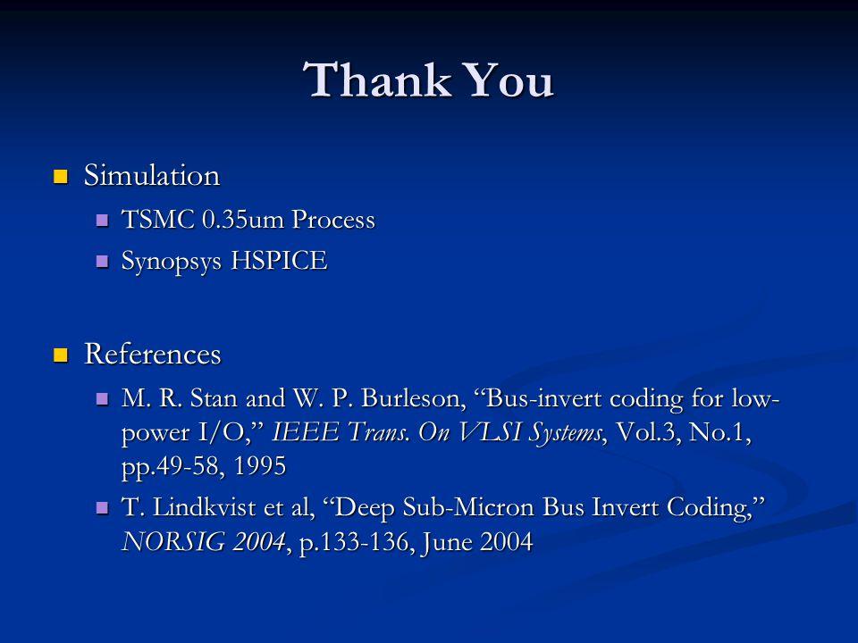 Thank You Simulation Simulation TSMC 0.35um Process TSMC 0.35um Process Synopsys HSPICE Synopsys HSPICE References References M.