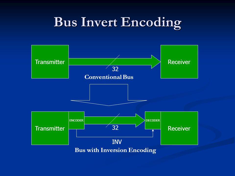 Bus Invert Encoding TransmitterReceiver 32 TransmitterReceiver 32 ENCODERDECODER INV Conventional Bus Bus with Inversion Encoding
