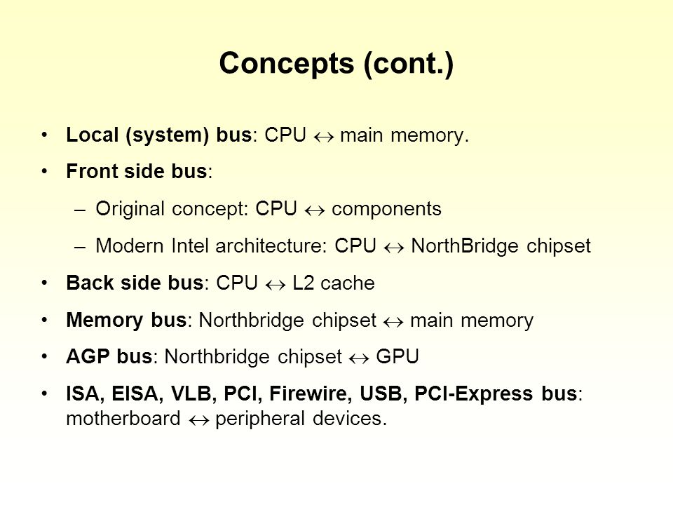 Concepts (cont.) Local (system) bus: CPU main memory.