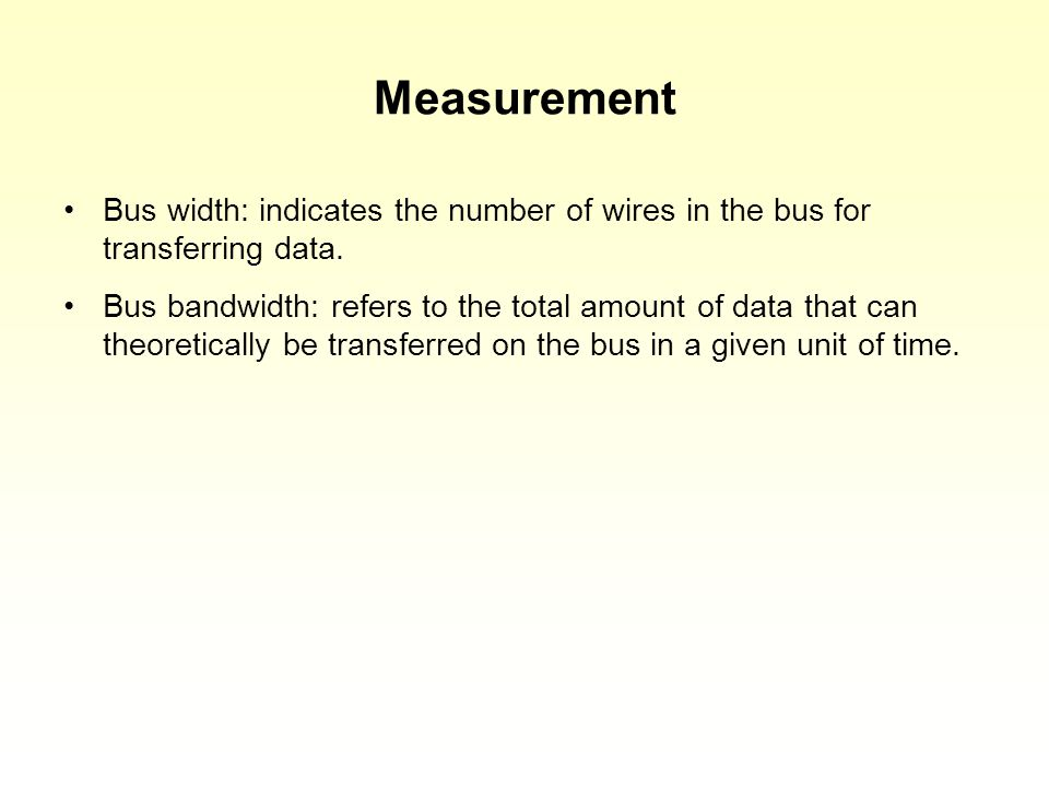 Measurement Bus width: indicates the number of wires in the bus for transferring data.