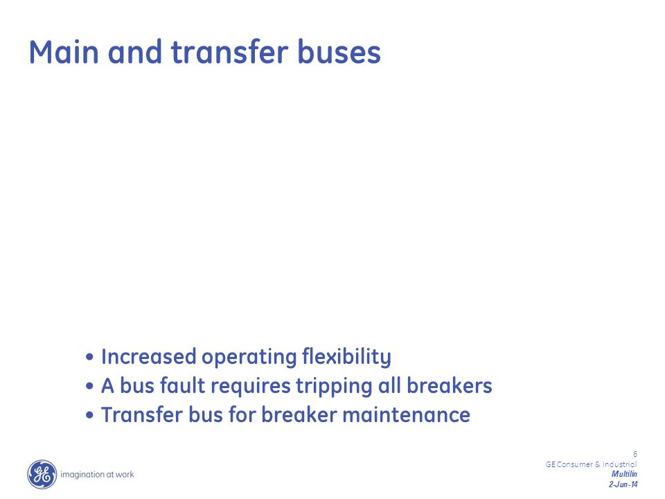 6 GE Consumer & Industrial Multilin 2-Jun-14 Increased operating flexibility A bus fault requires tripping all breakers Transfer bus for breaker maint
