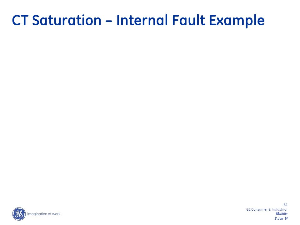 61 GE Consumer & Industrial Multilin 2-Jun-14 CT Saturation – Internal Fault Example