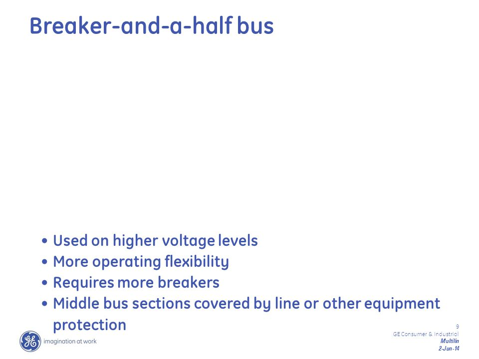 9 GE Consumer & Industrial Multilin 2-Jun-14 Used on higher voltage levels More operating flexibility Requires more breakers Middle bus sections cover