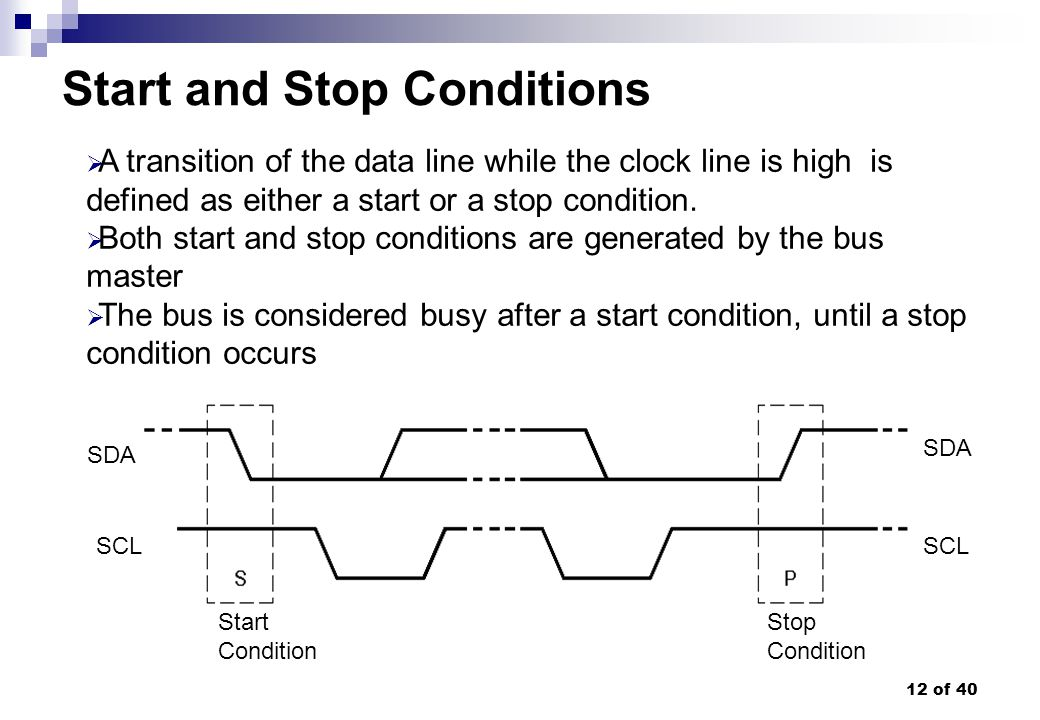 12 of 40 Start and Stop Conditions A transition of the data line while the clock line is high is defined as either a start or a stop condition. Both s