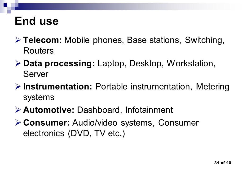 31 of 40 End use Telecom: Mobile phones, Base stations, Switching, Routers Data processing: Laptop, Desktop, Workstation, Server Instrumentation: Port