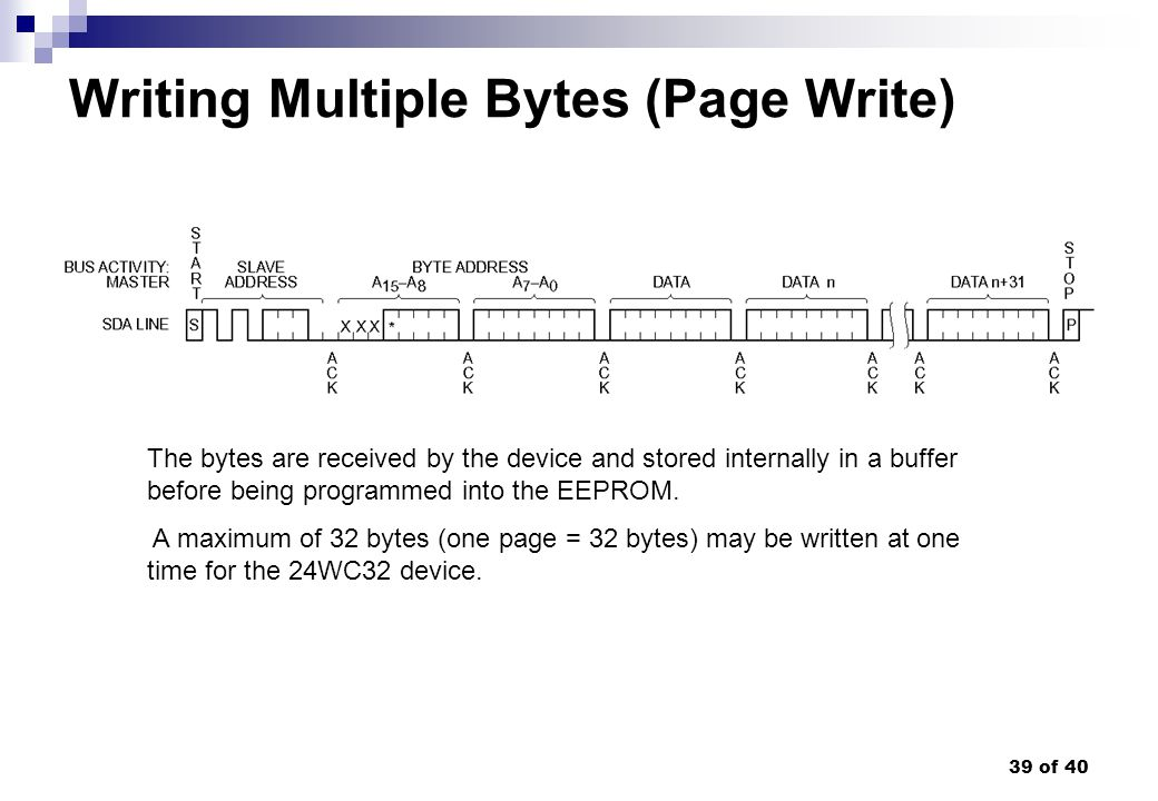 39 of 40 Writing Multiple Bytes (Page Write) The bytes are received by the device and stored internally in a buffer before being programmed into the E
