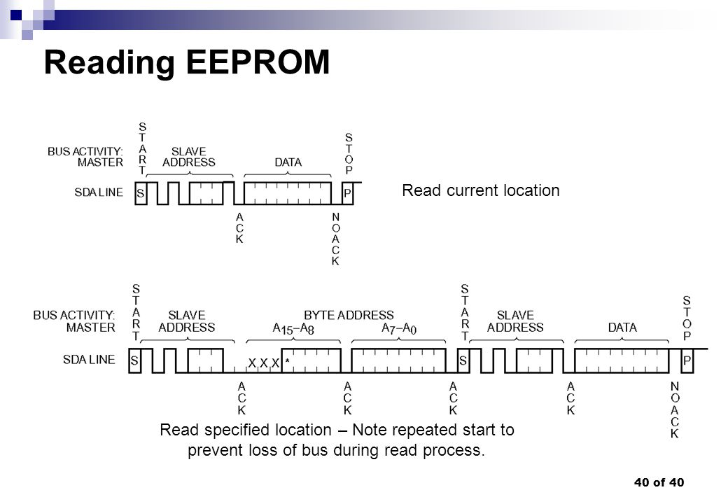 40 of 40 Reading EEPROM Read current location Read specified location – Note repeated start to prevent loss of bus during read process.