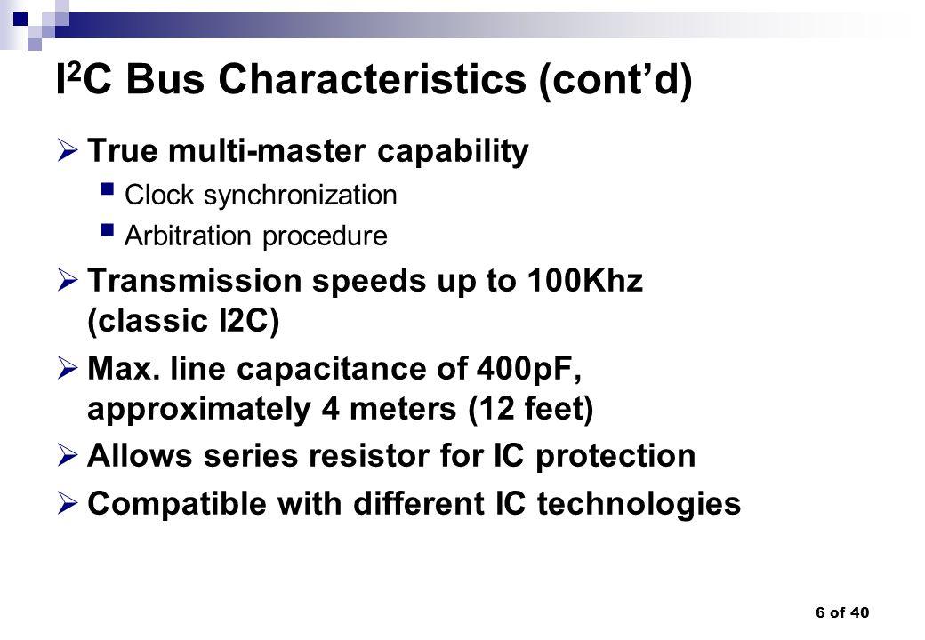 6 of 40 I 2 C Bus Characteristics (contd) True multi-master capability Clock synchronization Arbitration procedure Transmission speeds up to 100Khz (c