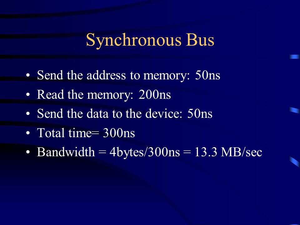 Synchronous Bus Send the address to memory: 50ns Read the memory: 200ns Send the data to the device: 50ns Total time= 300ns Bandwidth = 4bytes/300ns = 13.3 MB/sec